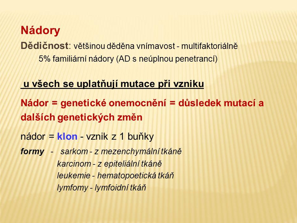 Nádory Dědičnost: většinou děděna vnímavost - multifaktoriálně