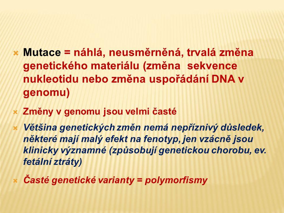 Mutace = náhlá, neusměrněná, trvalá změna genetického materiálu (změna sekvence nukleotidu nebo změna uspořádání DNA v genomu)