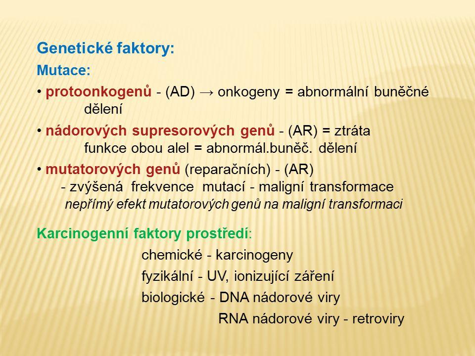 Genetické faktory: Mutace: