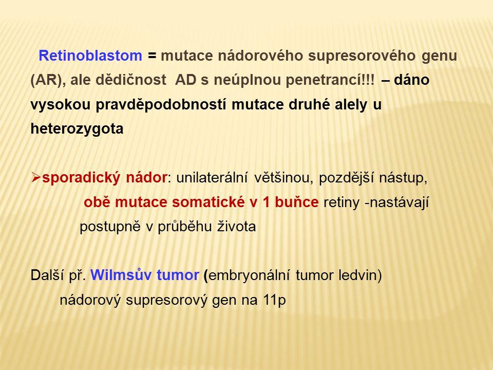 Retinoblastom = mutace nádorového supresorového genu (AR), ale dědičnost AD s neúplnou penetrancí!!! – dáno vysokou pravděpodobností mutace druhé alely u heterozygota