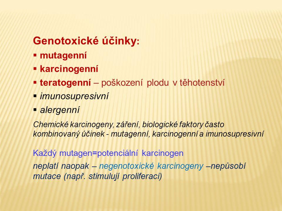 Genotoxické účinky: mutagenní karcinogenní
