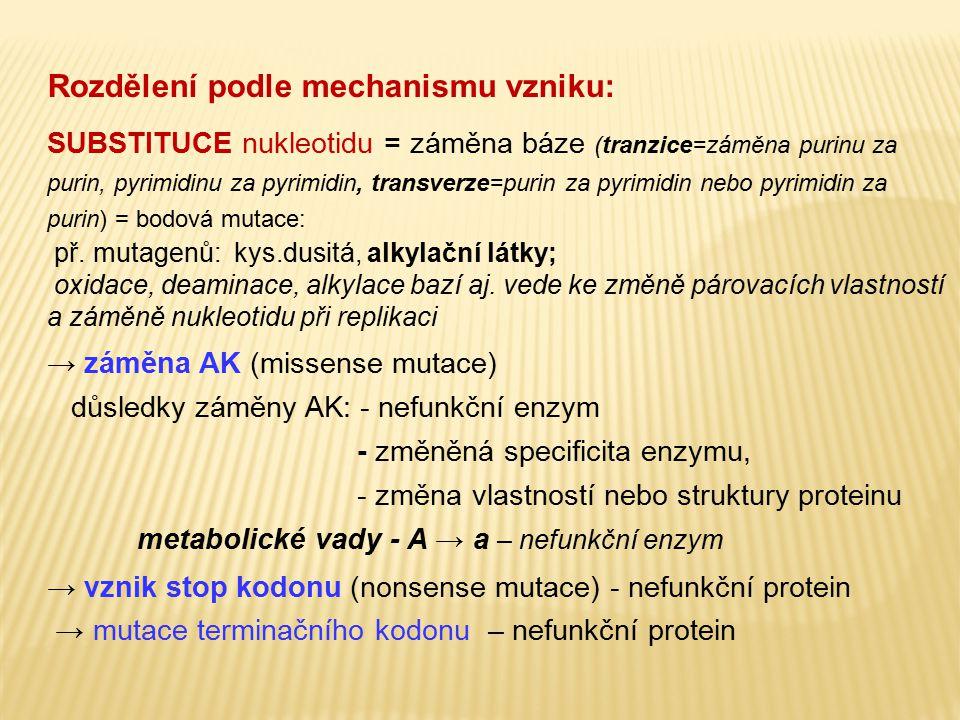 Rozdělení podle mechanismu vzniku: