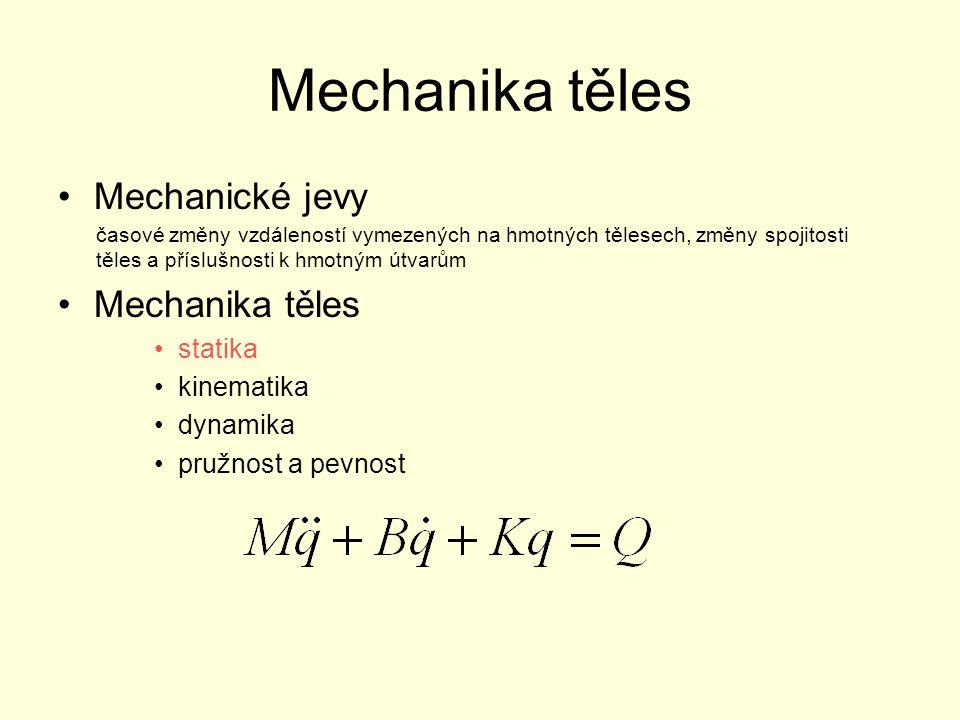Mechanika těles Mechanické jevy Mechanika těles statika kinematika