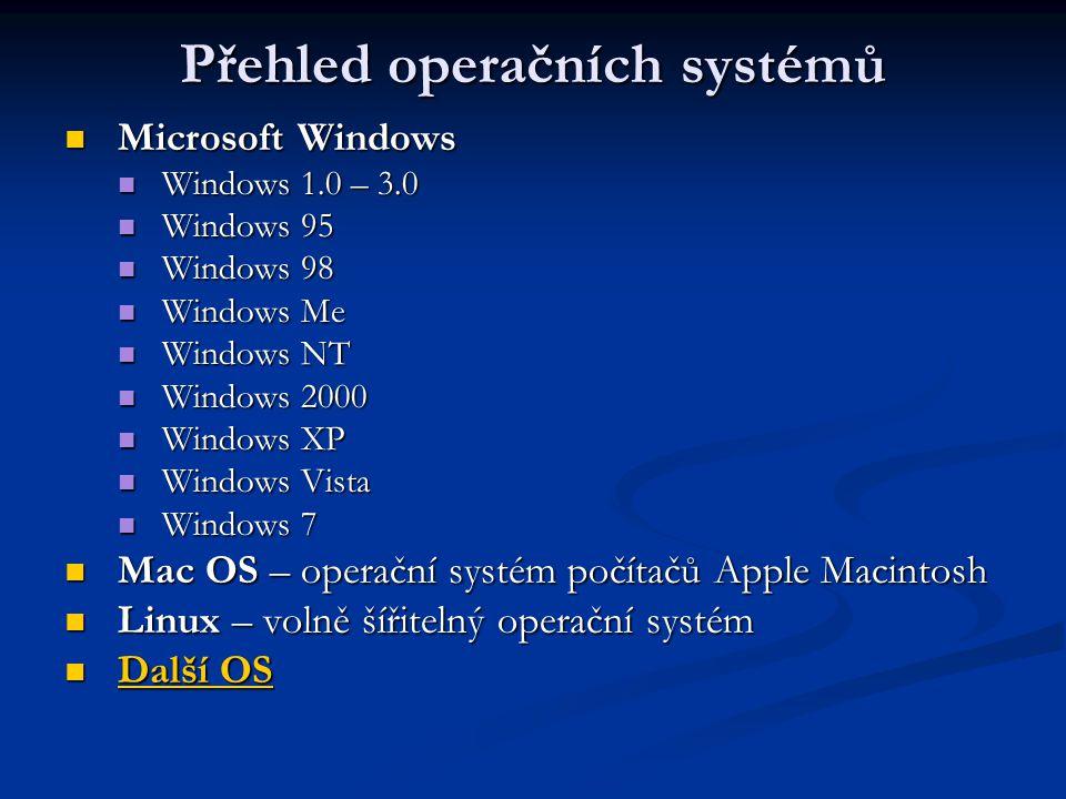 Přehled operačních systémů