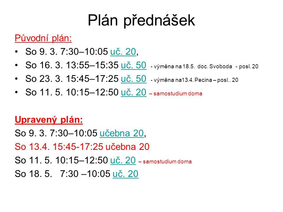 Plán přednášek Původní plán: So 9. 3. 7:30–10:05 uč. 20,