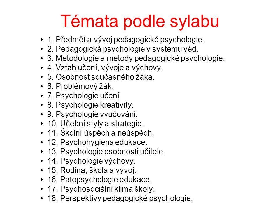 Témata podle sylabu 1. Předmět a vývoj pedagogické psychologie.