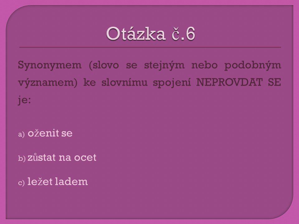 Otázka č.6 Synonymem (slovo se stejným nebo podobným významem) ke slovnímu spojení NEPROVDAT SE je: