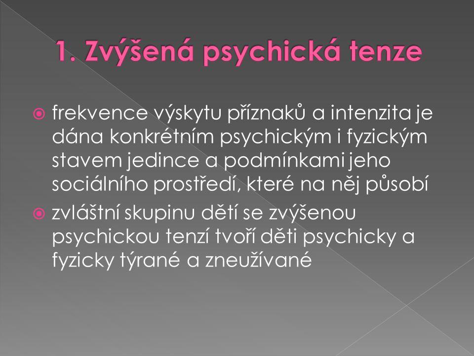 1. Zvýšená psychická tenze