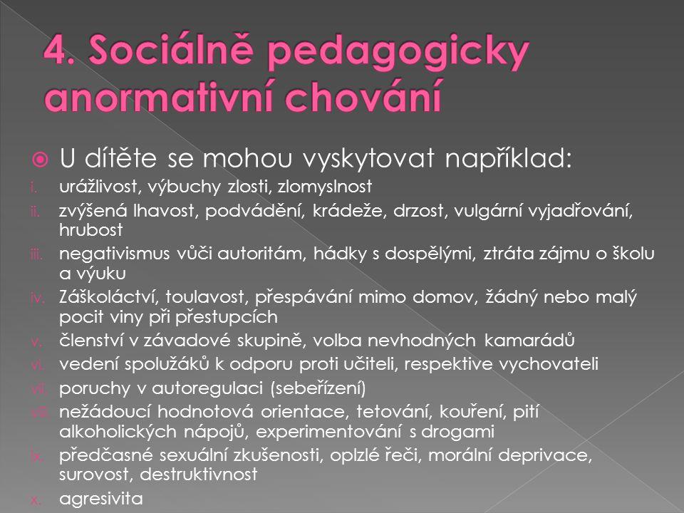 4. Sociálně pedagogicky anormativní chování