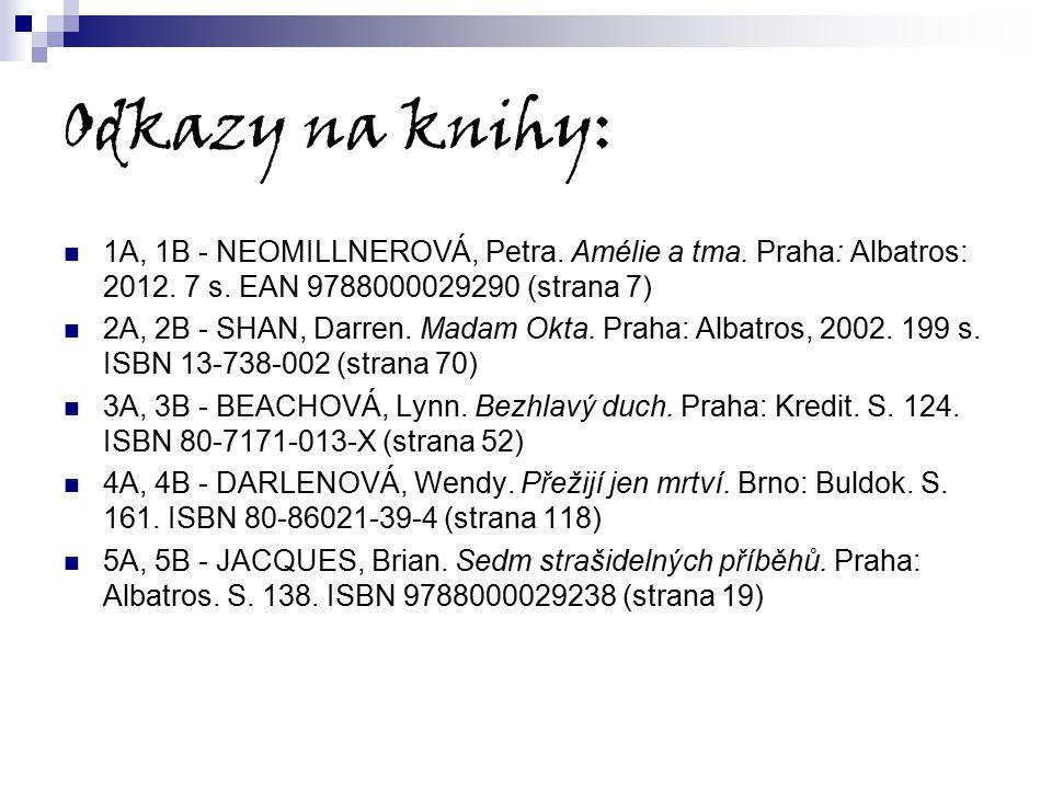 Odkazy na knihy: 1A, 1B - NEOMILLNEROVÁ, Petra. Amélie a tma. Praha: Albatros: 2012. 7 s. EAN 9788000029290 (strana 7)