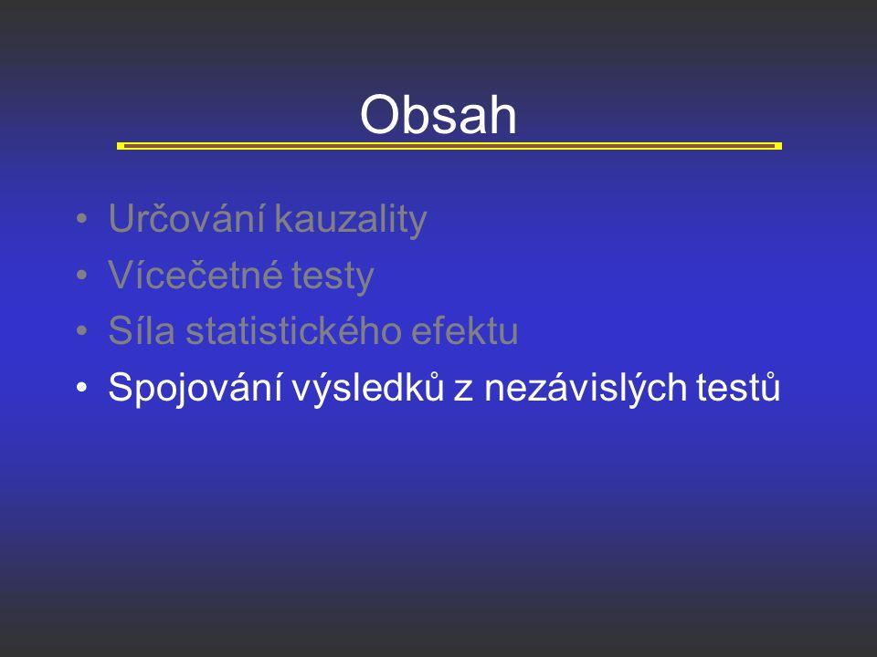 Obsah Určování kauzality Vícečetné testy Síla statistického efektu