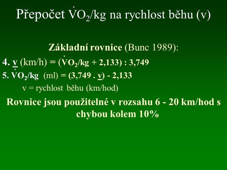 Přepočet VO2/kg na rychlost běhu (v)