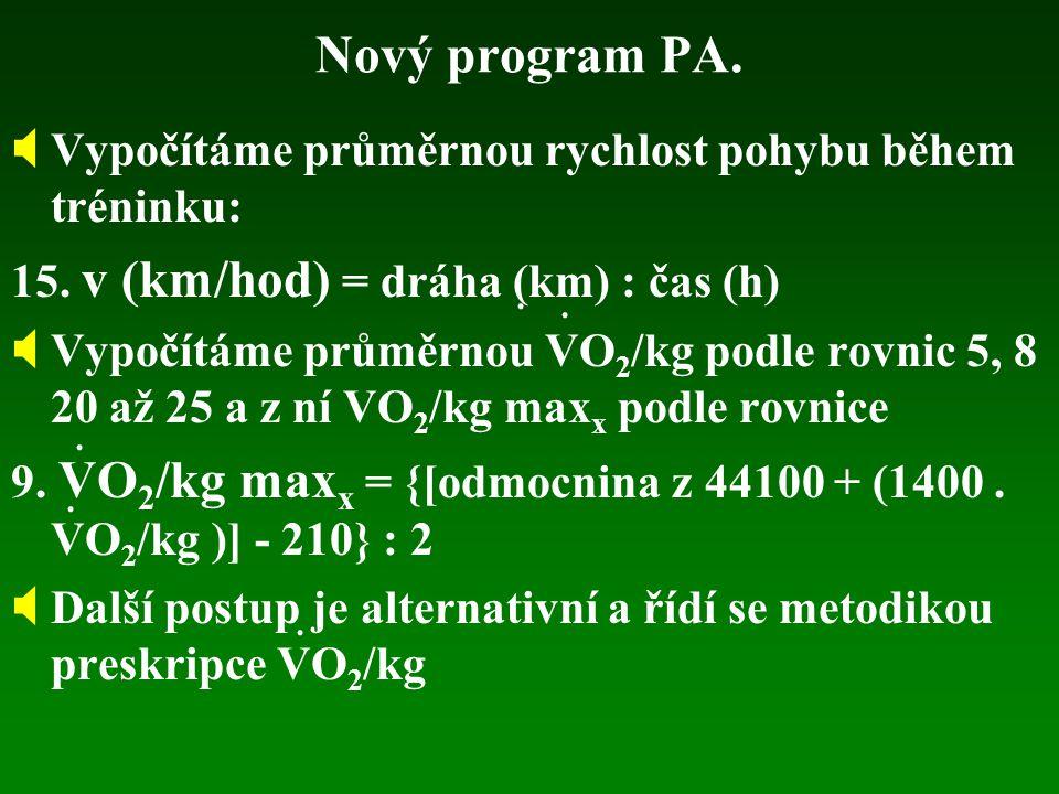 Nový program PA. Vypočítáme průměrnou rychlost pohybu během tréninku: