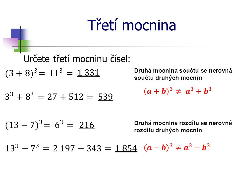 Třetí mocnina Určete třetí mocninu čísel: (3+8) 3 = 11 3 = 1 331