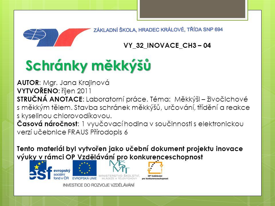 Schránky měkkýšů VY_32_INOVACE_CH3 – 04 AUTOR: Mgr. Jana Krajinová