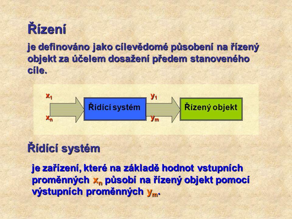 Řízení je definováno jako cílevědomé působení na řízený objekt za účelem dosažení předem stanoveného cíle.