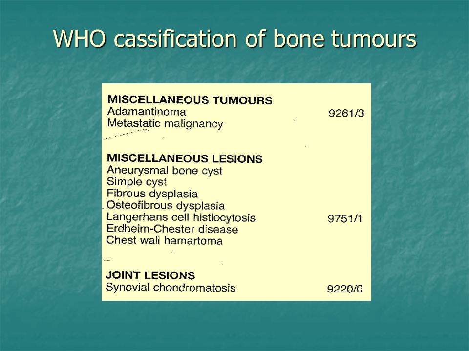WHO cassification of bone tumours