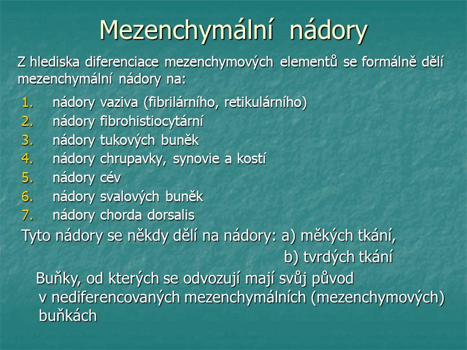 Mezenchymální nádory Z hlediska diferenciace mezenchymových elementů se formálně dělí mezenchymální nádory na: