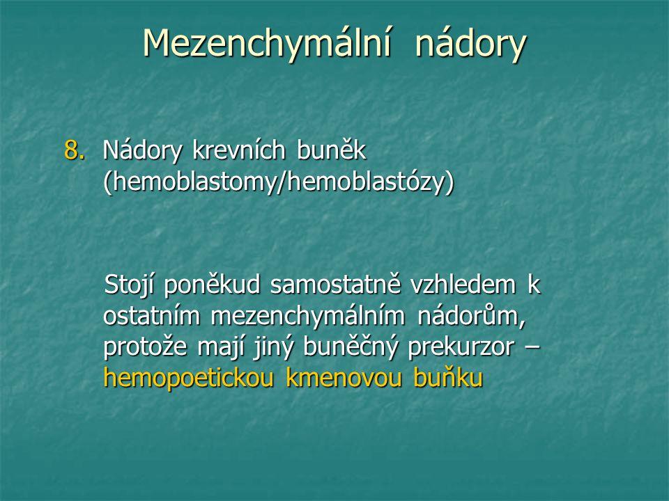 Mezenchymální nádory 8. Nádory krevních buněk (hemoblastomy/hemoblastózy)