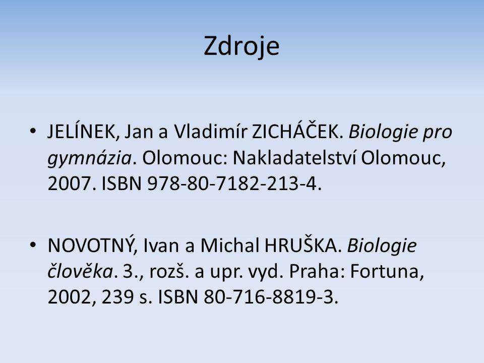 Zdroje JELÍNEK, Jan a Vladimír ZICHÁČEK. Biologie pro gymnázia. Olomouc: Nakladatelství Olomouc, 2007. ISBN 978-80-7182-213-4.