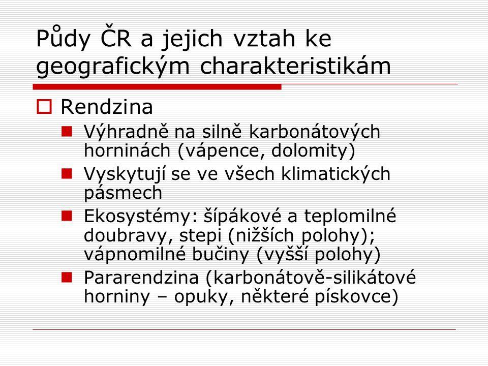 Půdy ČR a jejich vztah ke geografickým charakteristikám