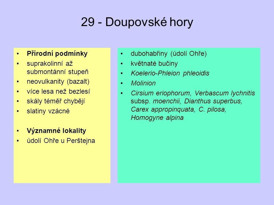 29 - Doupovské hory Přírodní podmínky