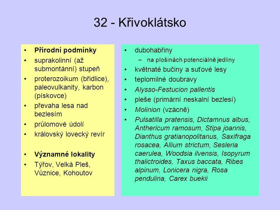 32 - Křivoklátsko Přírodní podmínky