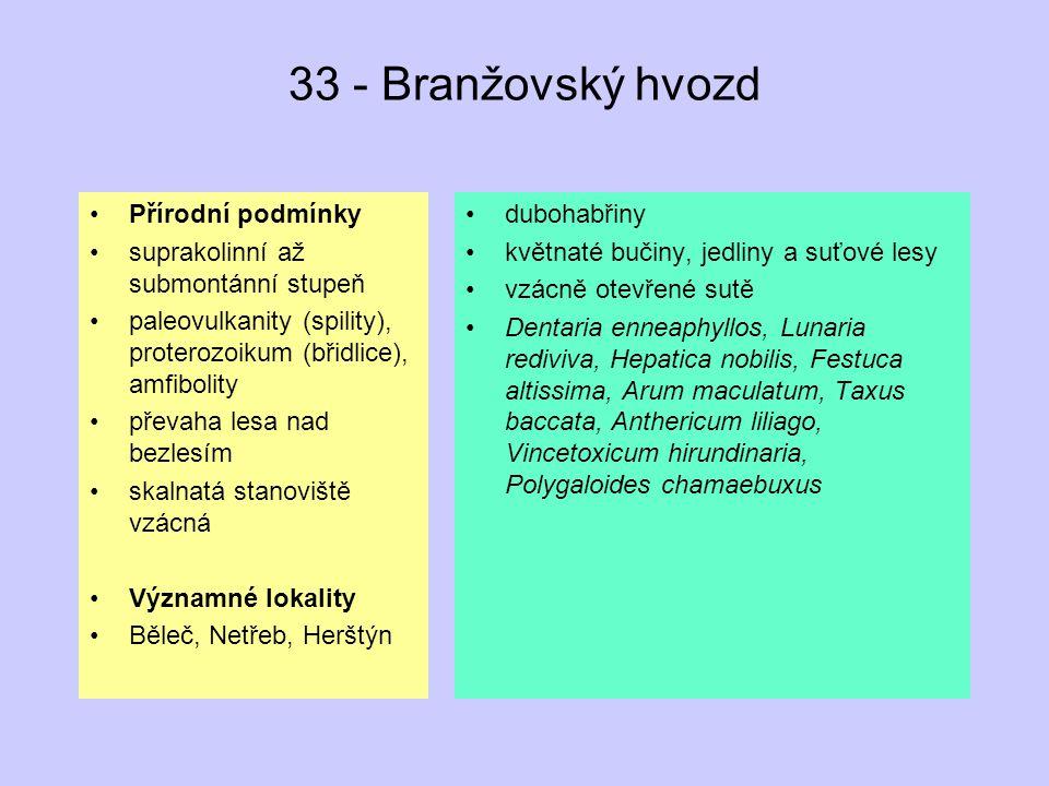33 - Branžovský hvozd Přírodní podmínky