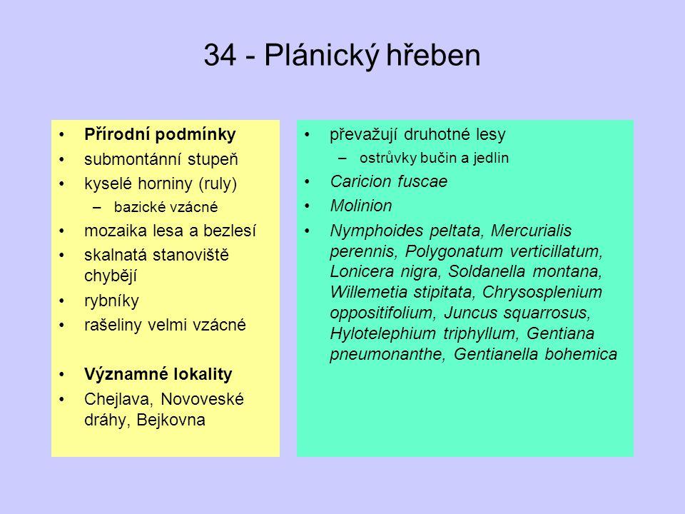 34 - Plánický hřeben Přírodní podmínky submontánní stupeň