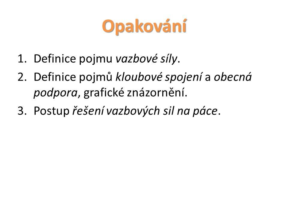 Opakování Definice pojmu vazbové síly.