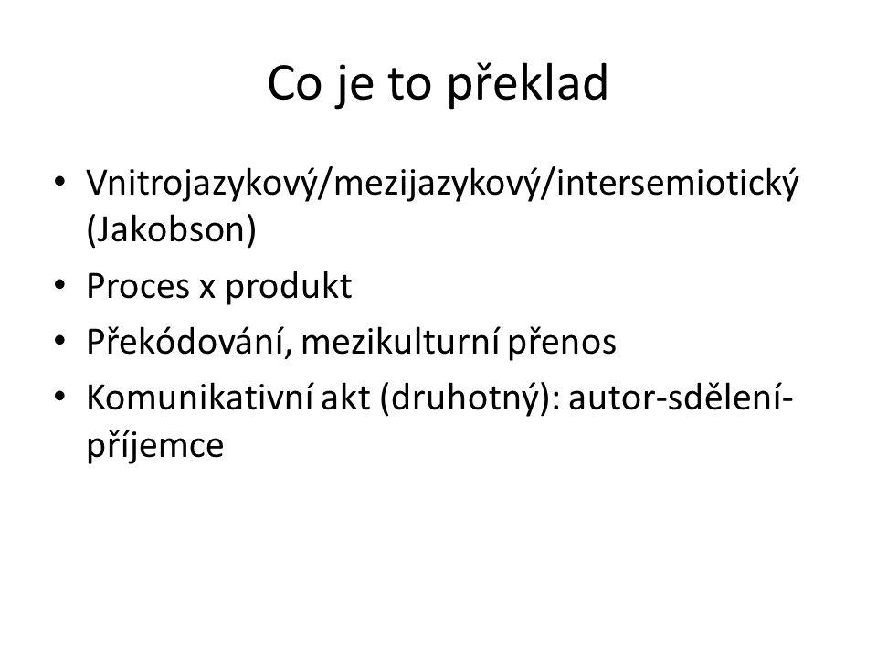 Co je to překlad Vnitrojazykový/mezijazykový/intersemiotický (Jakobson) Proces x produkt. Překódování, mezikulturní přenos.
