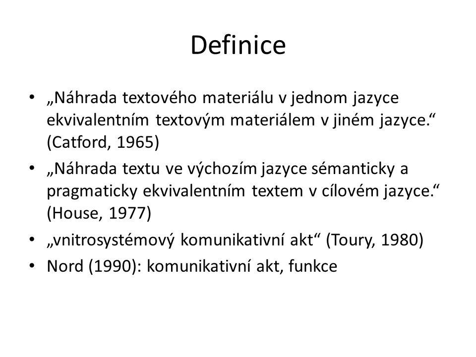 """Definice """"Náhrada textového materiálu v jednom jazyce ekvivalentním textovým materiálem v jiném jazyce. (Catford, 1965)"""