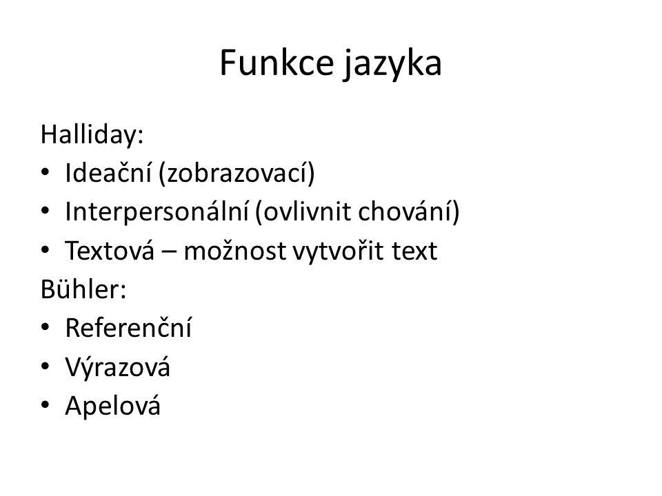 Funkce jazyka Halliday: Ideační (zobrazovací)