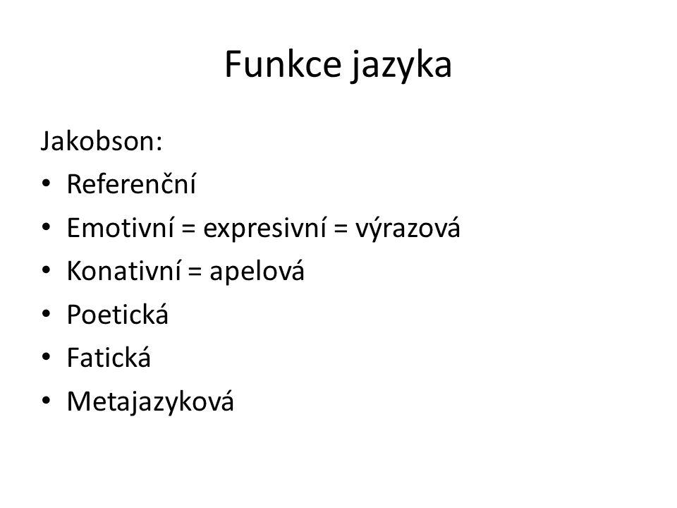 Funkce jazyka Jakobson: Referenční Emotivní = expresivní = výrazová