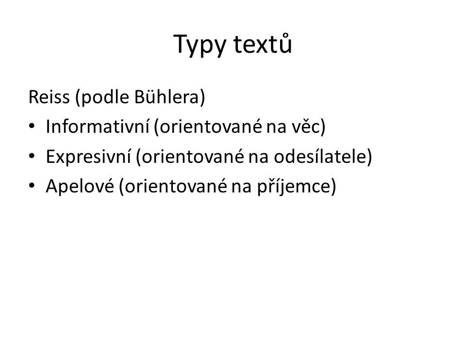 Typy textů Reiss (podle Bühlera) Informativní (orientované na věc)
