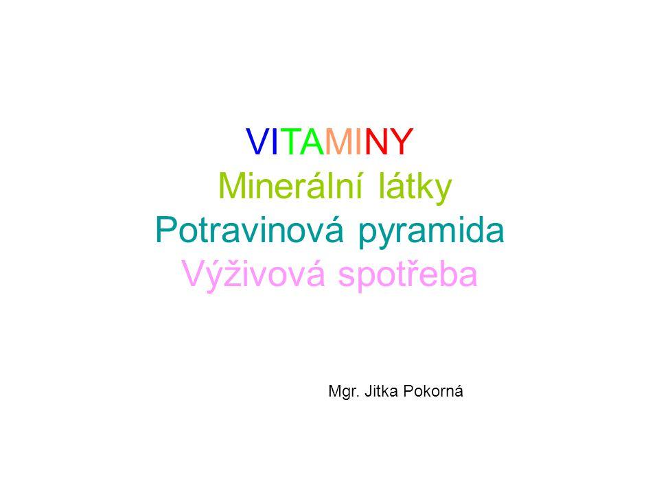 VITAMINY Minerální látky Potravinová pyramida Výživová spotřeba