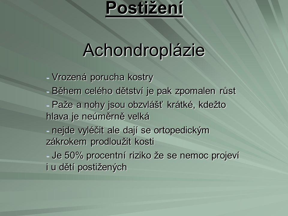 Postižení Achondroplázie
