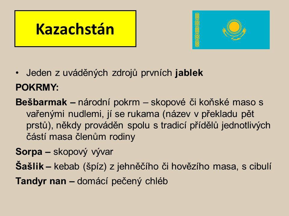 Kazachstán Jeden z uváděných zdrojů prvních jablek POKRMY: