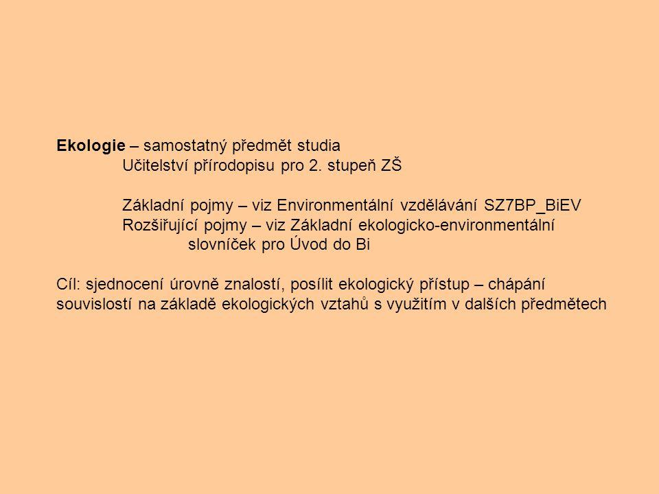 Ekologie – samostatný předmět studia