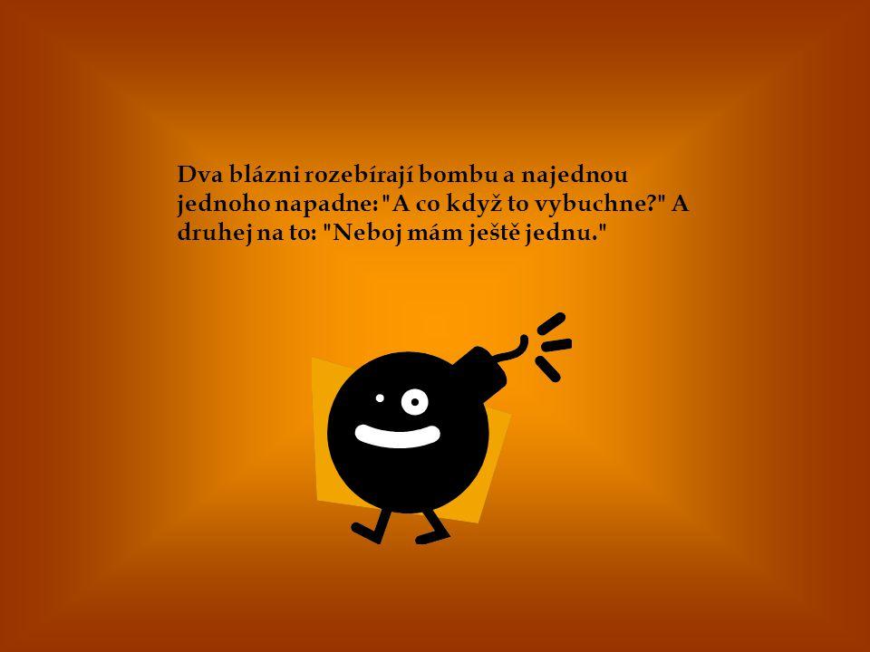 Dva blázni rozebírají bombu a najednou jednoho napadne: A co když to vybuchne A druhej na to: Neboj mám ještě jednu.