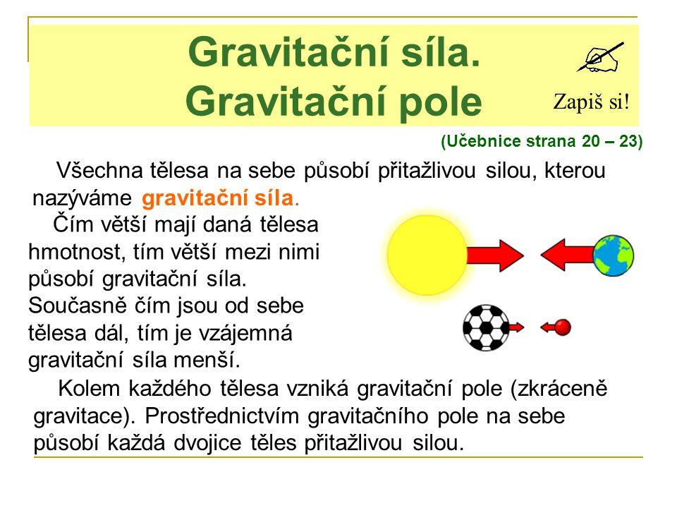 Gravitační síla. Gravitační pole