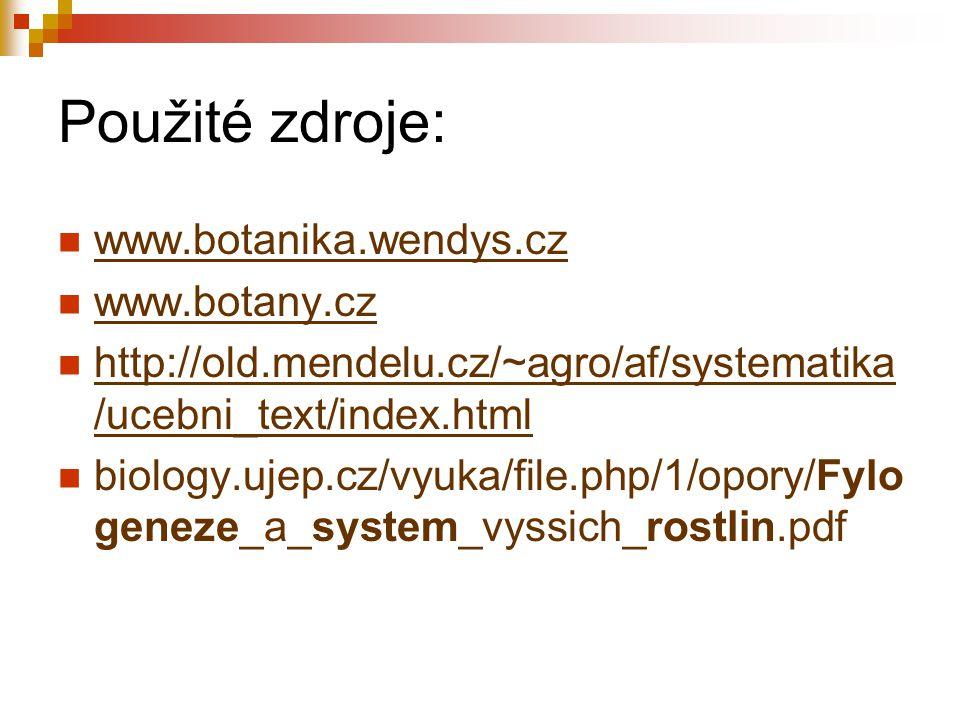 Použité zdroje: www.botanika.wendys.cz www.botany.cz