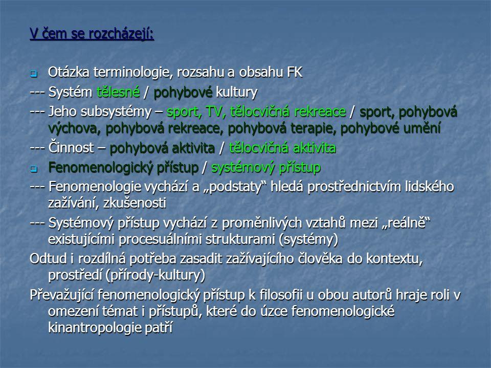 V čem se rozcházejí: Otázka terminologie, rozsahu a obsahu FK. --- Systém tělesné / pohybové kultury.