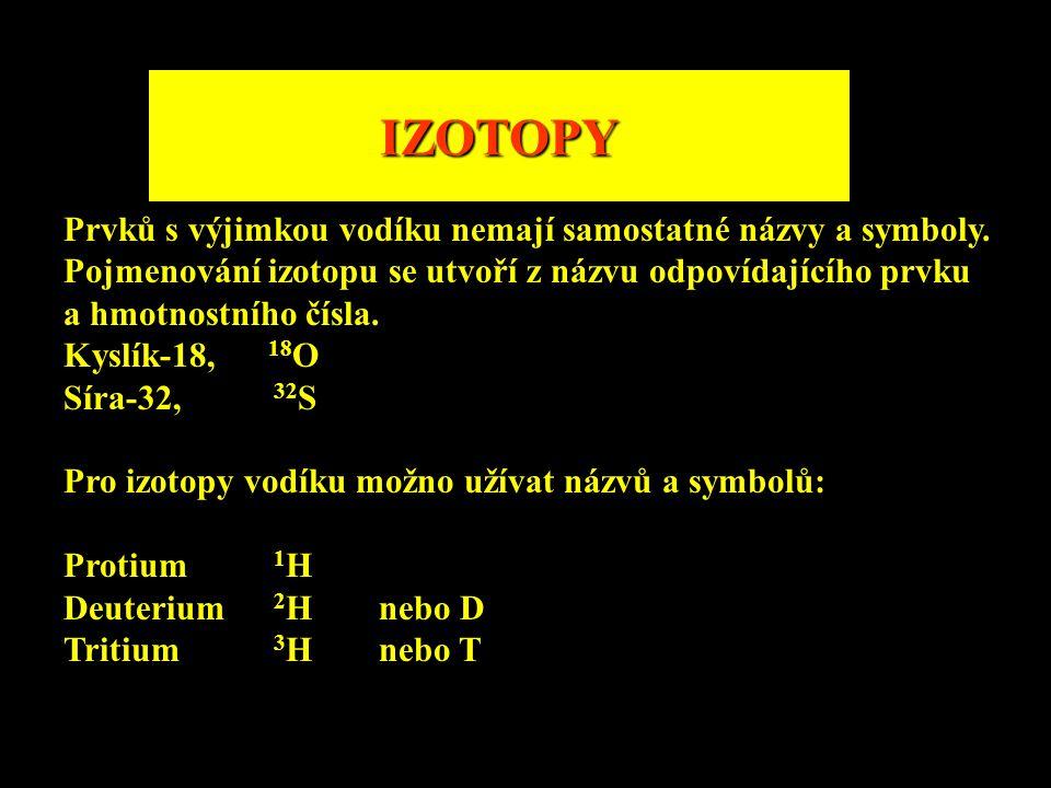 IZOTOPY Prvků s výjimkou vodíku nemají samostatné názvy a symboly.
