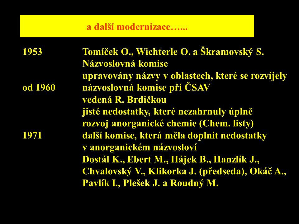 a další modernizace…... 1953 Tomíček O., Wichterle O. a Škramovský S. Názvoslovná komise. upravovány názvy v oblastech, které se rozvíjely.