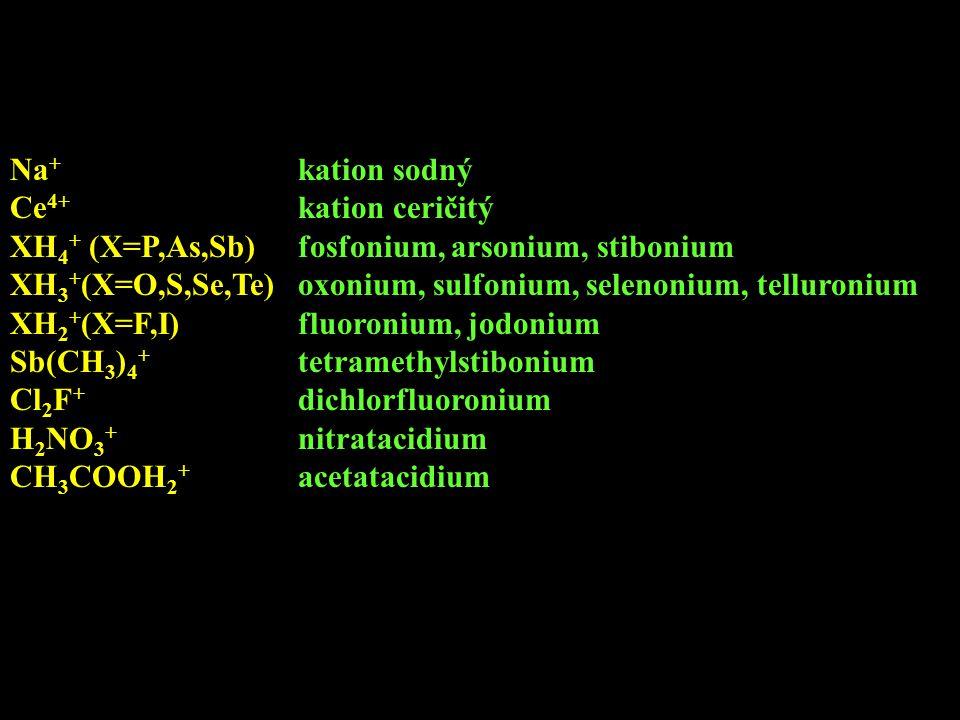 Na+ kation sodný Ce4+ kation ceričitý. XH4+ (X=P,As,Sb) fosfonium, arsonium, stibonium.