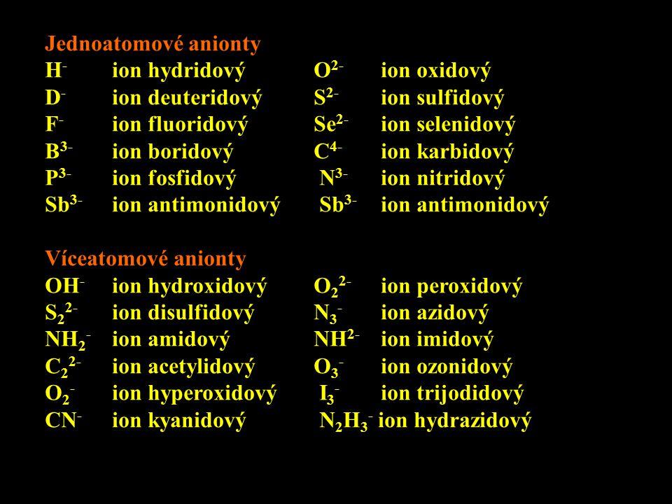 Jednoatomové anionty H- ion hydridový O2- ion oxidový. D- ion deuteridový S2- ion sulfidový. F- ion fluoridový Se2- ion selenidový.