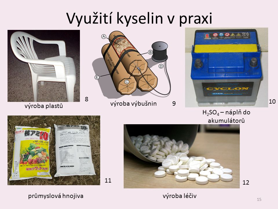 Využití kyselin v praxi