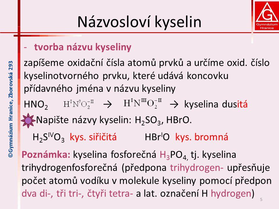 Názvosloví kyselin tvorba názvu kyseliny