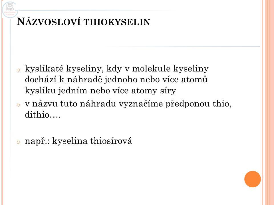Názvosloví thiokyselin